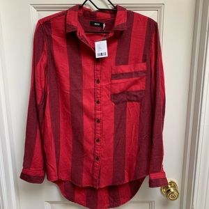 Urban Outfitters BDG Red Stripe Flannel Shirt